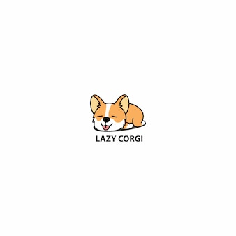 Lazy welsh corgi puppy sleeping icon