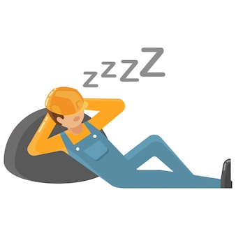 Lazy worker vector illustration