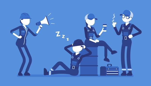 Ленивые рабочие отдыхают. группа молодых людей, не желающих работать, не имеет ни желания, ни энергии, женщина отдает приказы, плачет с мегафоном. иллюстрации шаржа стиля на белой предпосылке