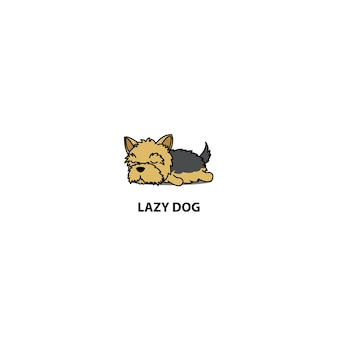 Lazy yorkshire terrier puppy sleeping icon