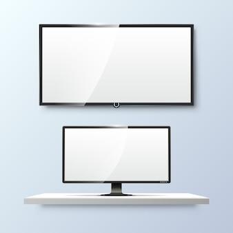 Lcd 모니터와 빈 흰색 평면 tv 화면. 빈, 기술 디지털, 전자 장비를 표시합니다.