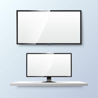 Lcd monitor and empty white flat tv screen. display blank, technology digital, electronic equipment.