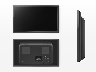 Lcd screen, mock up of plasma television. Front, back and side view of modern video system.