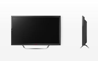 液晶テレビ、モダンなビデオシステムのモックアップ。 HDテレビデジタル技術。