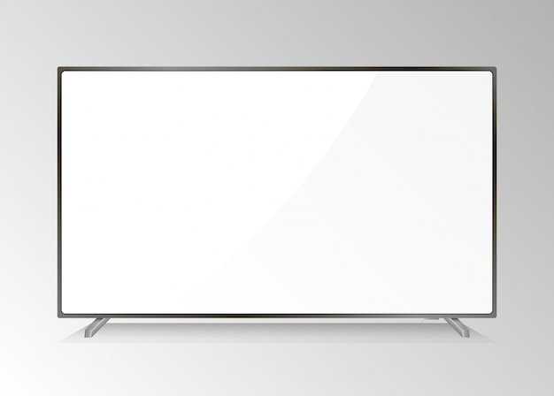 Lcd tv screen. modern television display. isolated led monitor. home hdtv plasma with white screen. realistic media device equipment with high resolution. presentation computer monitor.