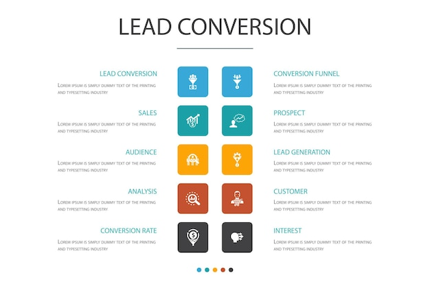 Lead conversion infographic cloud design template.sales, analysis, prospect, customer  simple icons