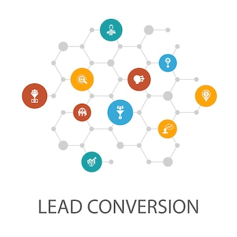 Lead conversion presentation template, cover layout and infographics. sales, analysis, prospect, customer icons