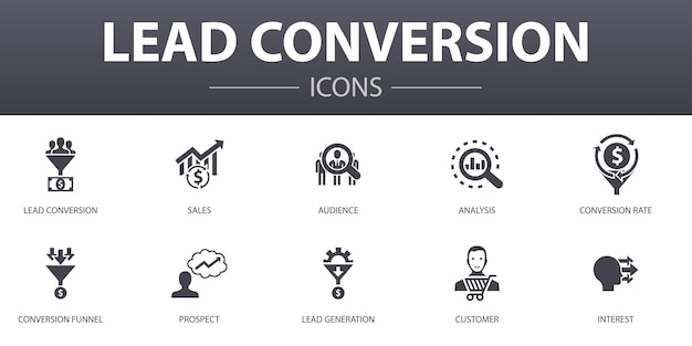 Lead conversion simple concept icons set. contains such icons as sales, analysis, prospect, customer and more, can be used for web, logo, ui/ux
