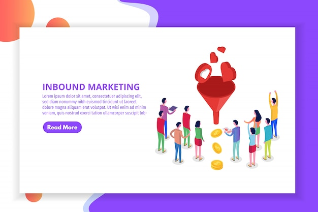 Lead generate, inbound marketing magnet isometric concept.  illustration