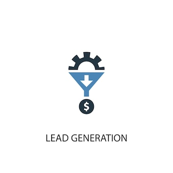 Концепция лидогенерации 2 цветных значка. простой синий элемент иллюстрации. дизайн символа концепции поколения свинца. может использоваться для веб- и мобильных ui / ux