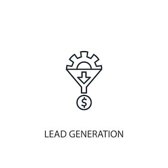 Значок линии концепции поколения свинца. простая иллюстрация элемента. дизайн символа контура концепции свинцового поколения. может использоваться для веб- и мобильных ui / ux