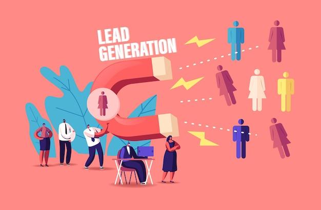 Концепция лидогенерации. крошечный персонаж-бизнесмен, привлекающий клиентов огромным магнитом, привлекающий новых потенциальных клиентов и генерирующий доход с помощью технологий входящего маркетинга. мультфильм люди векторные иллюстрации