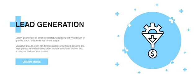 Значок лидогенерации, концепция шаблона контура баннера. дизайн иллюстрации линии лидогенерации