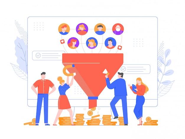 リードジェネレーション。コンバージョンの増加、販売目標到達プロセスの戦略、新しい忠実なリードの図の生成または引き付け。オンラインでの収益化と市場の成長。インバウンドマーケティング戦略