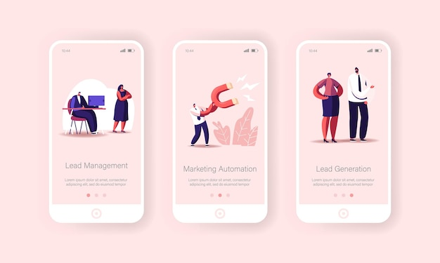 Lead management mobile app page onboard screen template