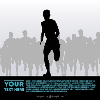 Leader athlete silhouette surrounded by other athletes