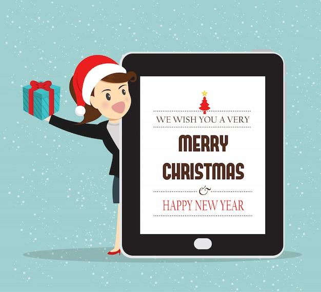 지도자 비즈니스 여자는 크리스마스 선물을 제공합니다.