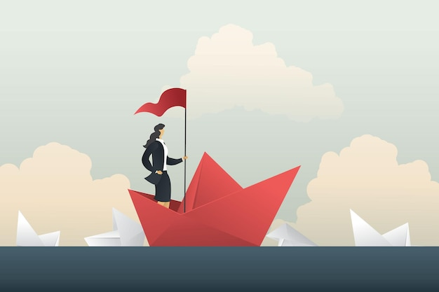 Leader businesswoman success passing the competition in crisis woman stand in boat paper in sea