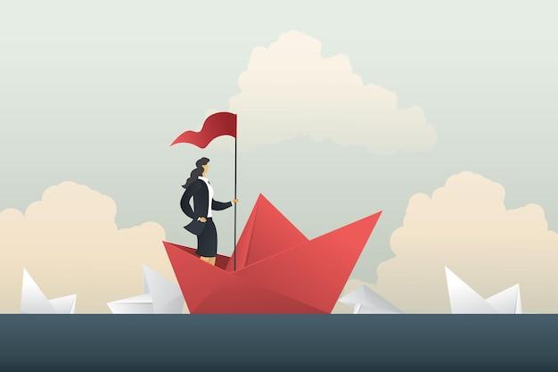 위기 여성에서 경쟁을 통과하는 리더 사업가 성공은 바다에서 보트 종이에 서 있습니다.