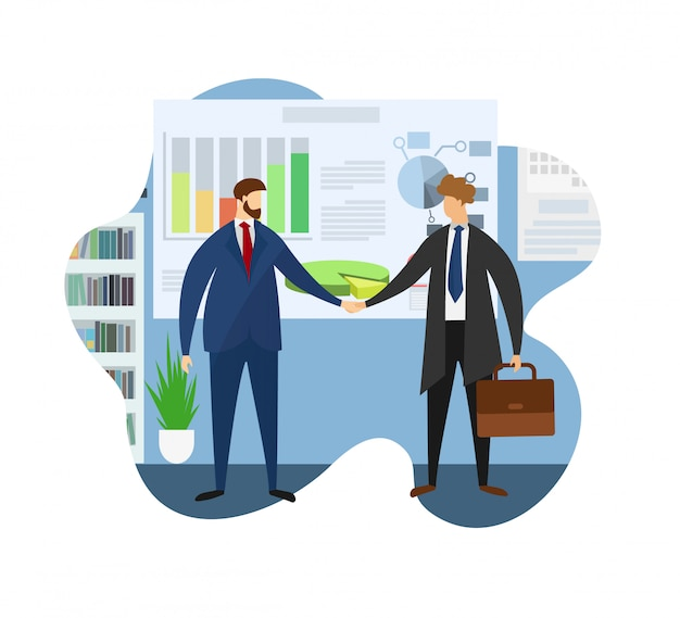 Leader of company welcome partner for meeting