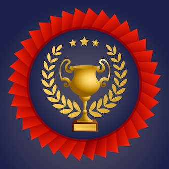 The leader of the cup with a red ribbon, template design element, vector illustration