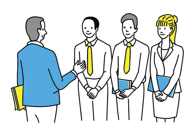 Leader giving advice to subordinate team