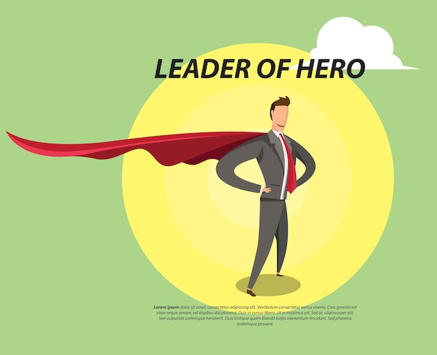 Leader hero flat illustration