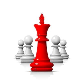 체스 게임의 지도자, 흰색 바탕에 비즈니스 팀. 벡터 일러스트 레이 션
