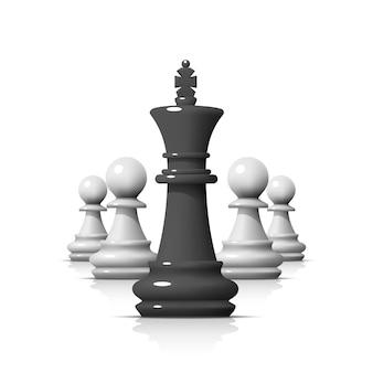 Лидер в игре в шахматы, бизнес-команда на белом фоне. векторная иллюстрация