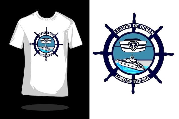 바다 실루엣 빈티지 티셔츠 디자인의 리더