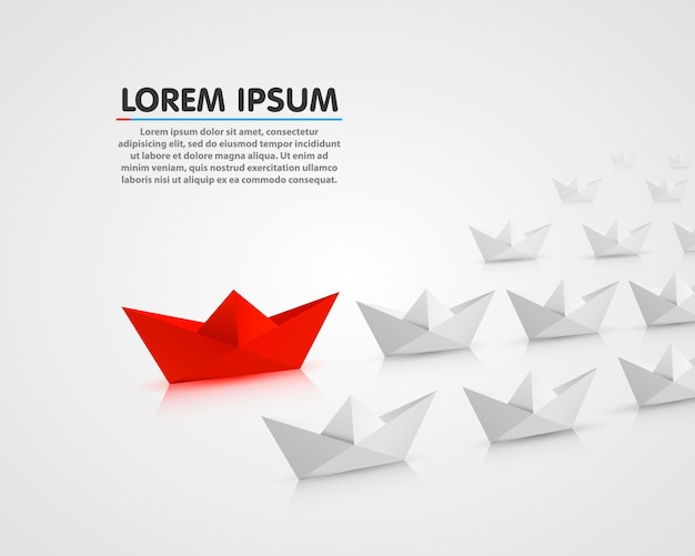 Leader paper boat different, red object. vector illustration