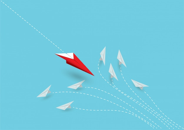 Leader of the red paper airplanes shows different ideas.