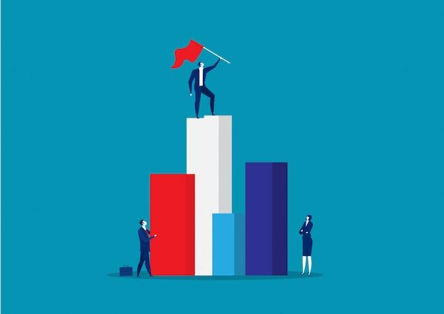 Лидер стенд с поднятым красным флагом на вершине.