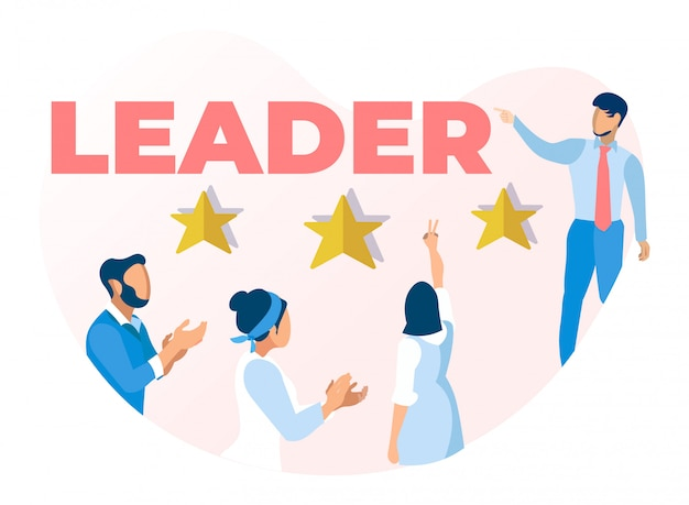 Leader talking to office people characters banner