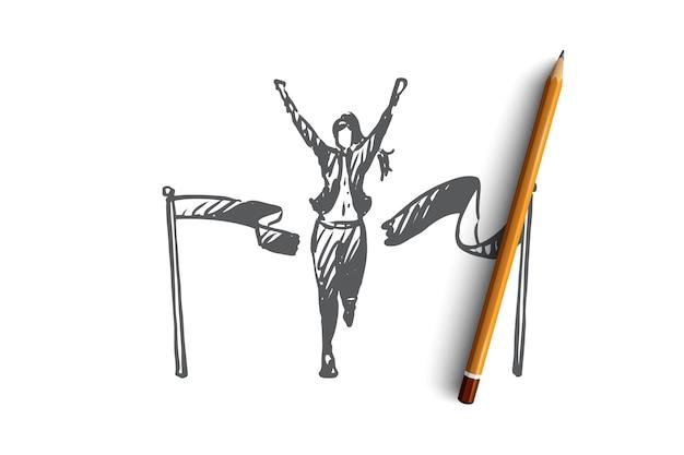 지도자, 승자 개념. 결승선을 건너와 리본을 깨는 여자. 손으로 그린 스케치 그림