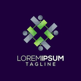 Leader with management logo design