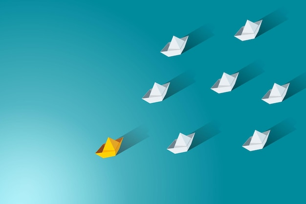 Leader with a yellow paper boat leads a group of white boats business leadership
