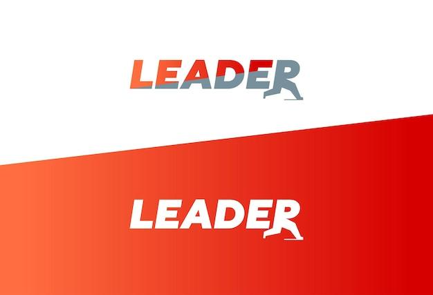 Знак концепции слова лидера для бизнес-надписи векторные иллюстрации с бегущей буквой r победа