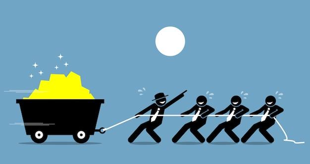 직원 및 근로자와 협력하여 격려와 도움으로 열심히 일하는 리더. 삽화는 리더십과 동기를 묘사합니다.
