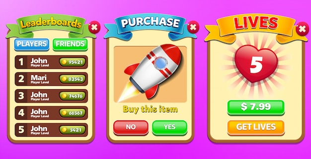Leaderboard, special offer and buy lives menu pop up with stars score and buttons gui