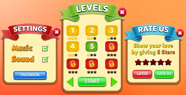 Leaderboard, special offer, rate us and exit menu pop up with stars score and buttons gui