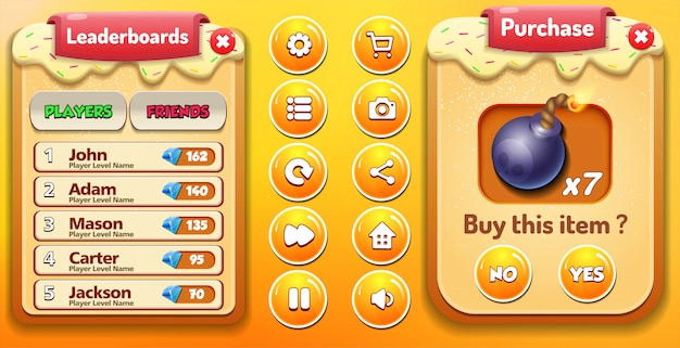 Всплывающее меню «leaderbords» и «покупка» со счетом звезд и кнопками gui