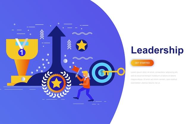 リーダーシップとビジネスマン現代フラットコンセプトウェブバナー