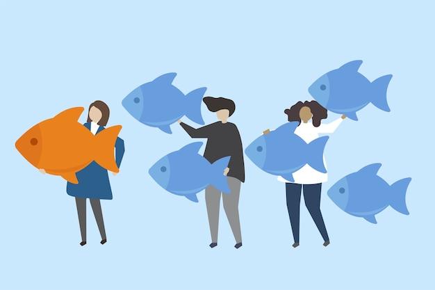 リーダーシップと群衆のイラストレーションのイラスト