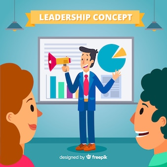 Leadership background in flat style