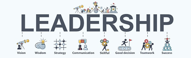 Leadership banner web icon for business.