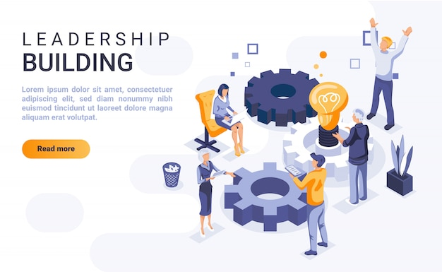 Leadership building landing page banner  with isometric illustration