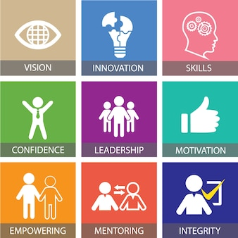Leadership business concept. leader people icon typography