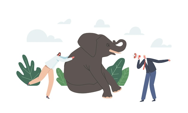 Leadership, career or corporate challenge concept. powerful business woman pushing huge elephant, business man character with megaphone, road success in career. cartoon people vector illustration