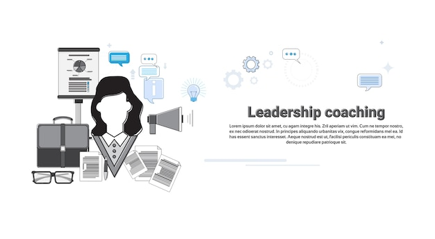 Leadership coaching management business web banner vector illustration